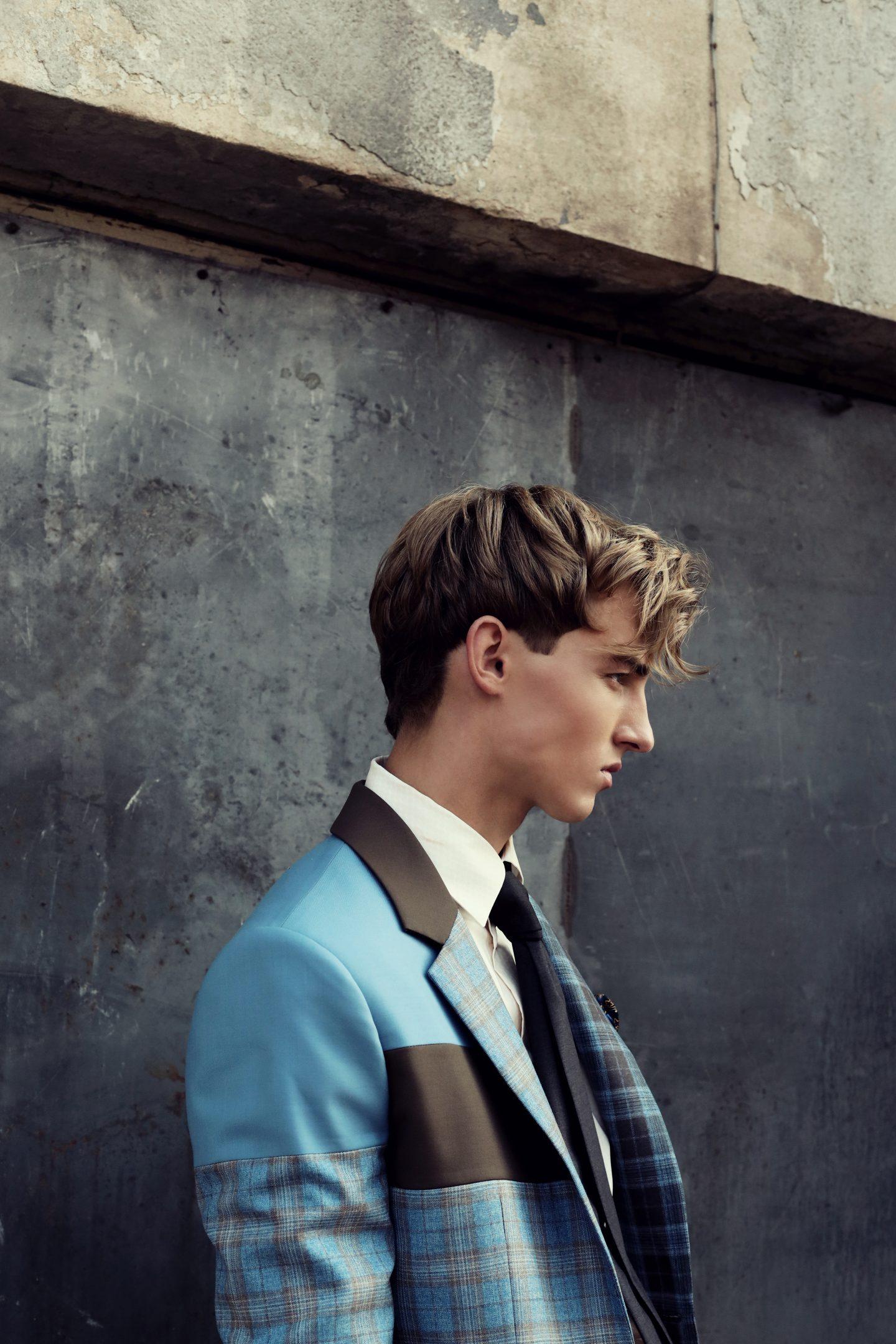 mėlyna ruda - tvarus švarkas - dizaineris lekeckas